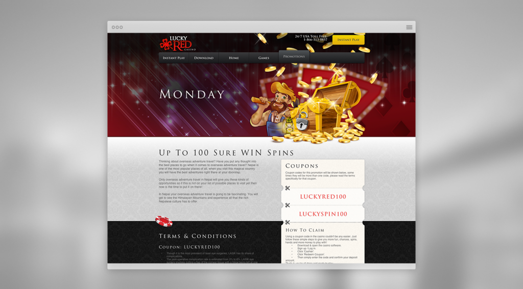 lucky red casino website promotion page