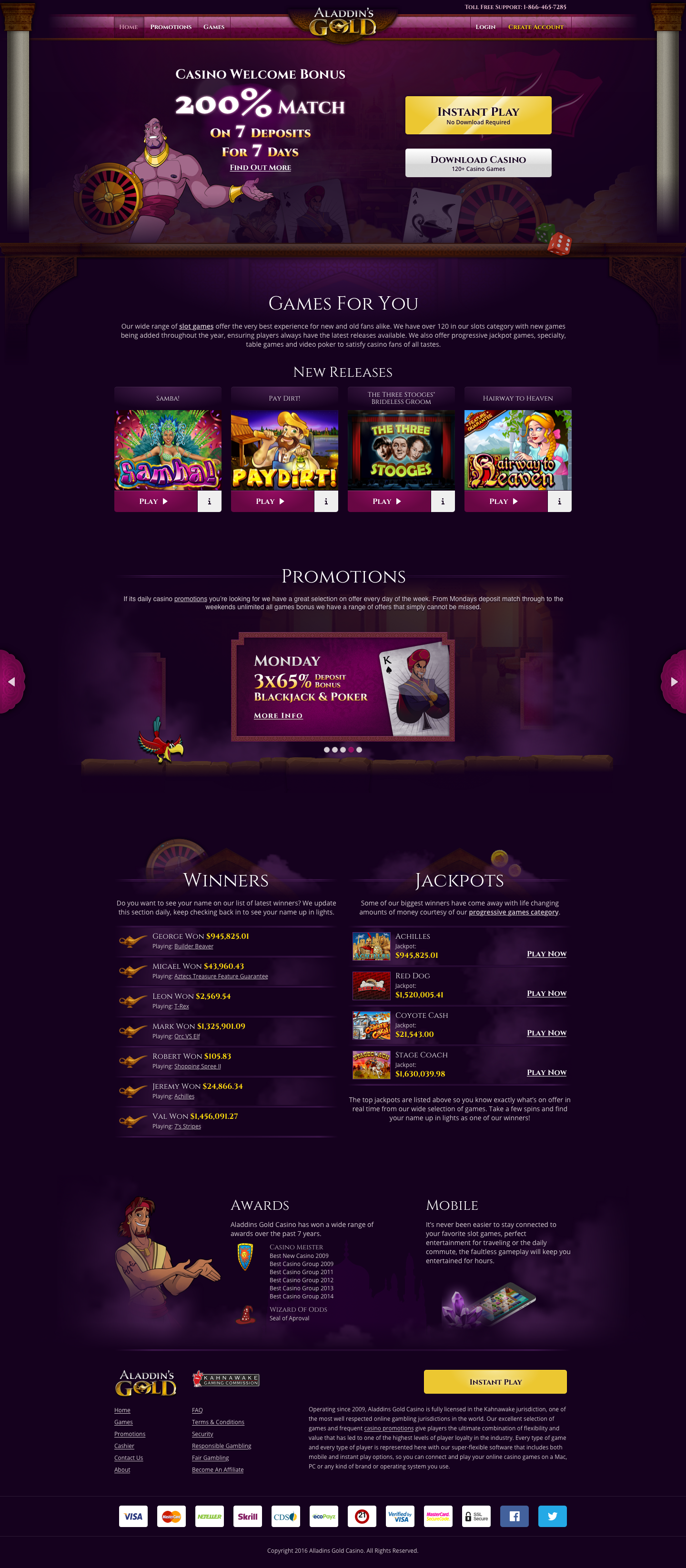 Aladdins Gold Casino Home Page
