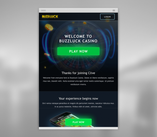 buzzluck casino welcome email